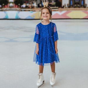 нарядное платье для девочки синее трикотаж сетка блестки