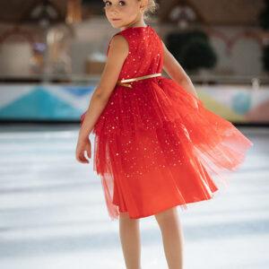 нарядное платье для девочки красное сетка блестки
