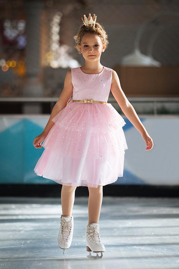 пышное нарядное платье для девочки розовое сетка блестки