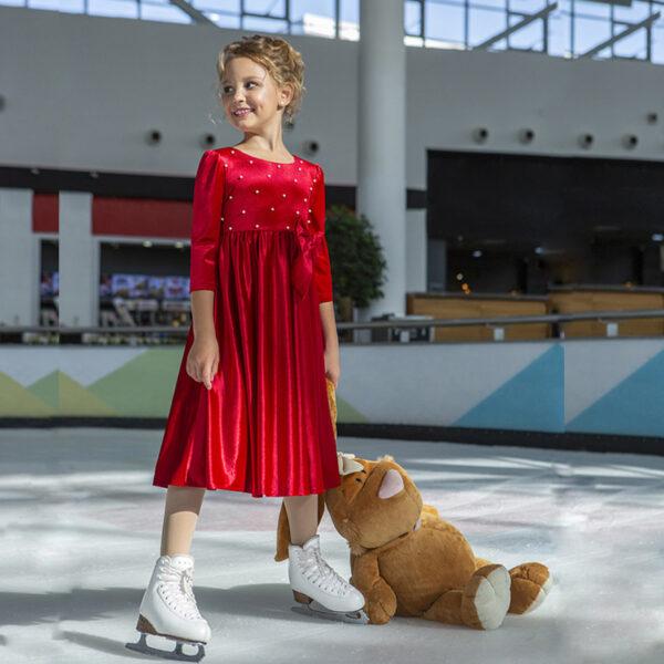 бархатное платье для девочки красное Голди-бархат