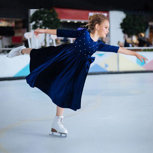 бархатное платье для девочки синее Голди бархат