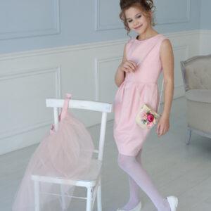 платье-трансформер для девочки подростка коктейльное нарядное розовое