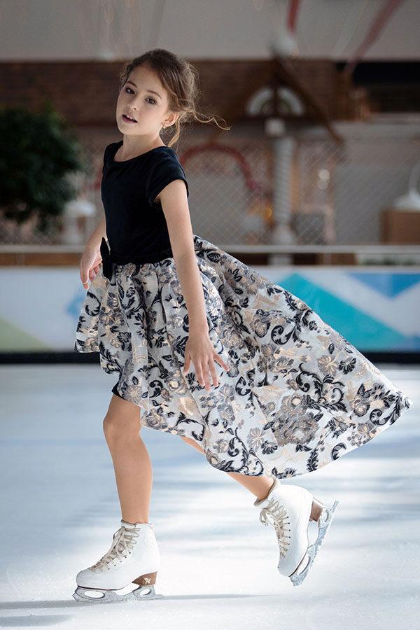 бархатное платье-трансформер для девочки Перфоманте-дуэт черное