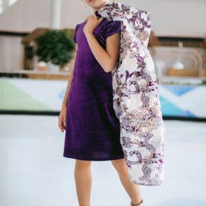 бархатное платье-трансформер для девочки Перфоманте-дуэт фиолетовое