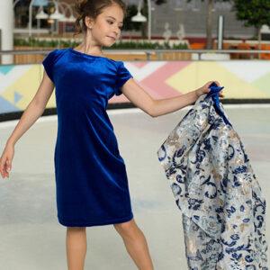 бархатное платье-трансформер для девочки Перфоманте-дуэт синее