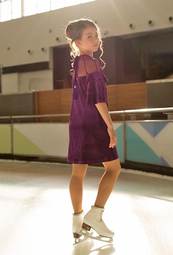бархатное платье для девочки фиолетовое Верона