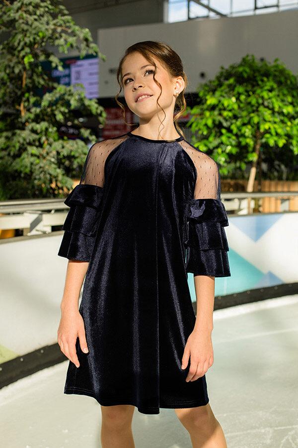 бархатное платье для девочки темно-синее Верона