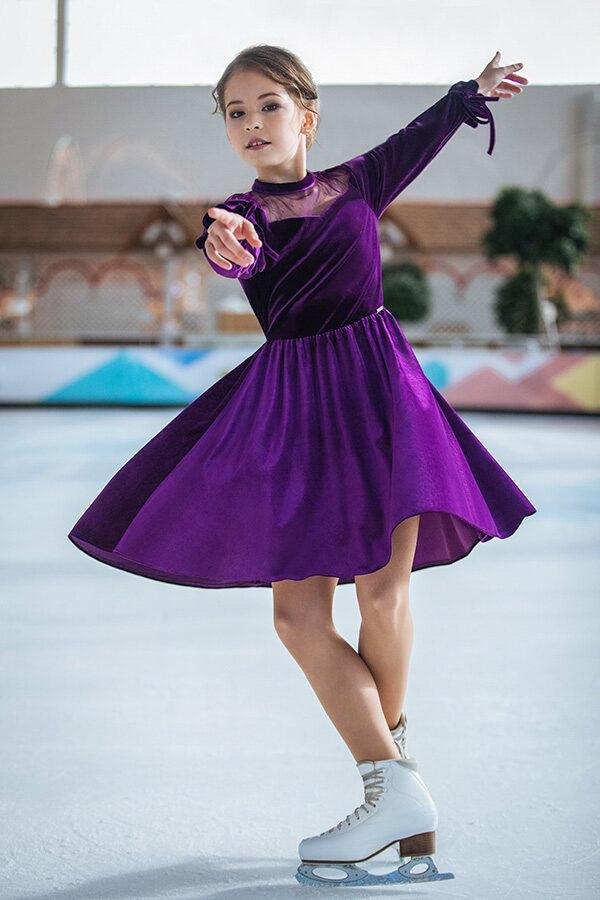 бархатное платье для девочки фиолетовое Виола