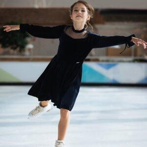 бархатное платье для девочки синее Виола
