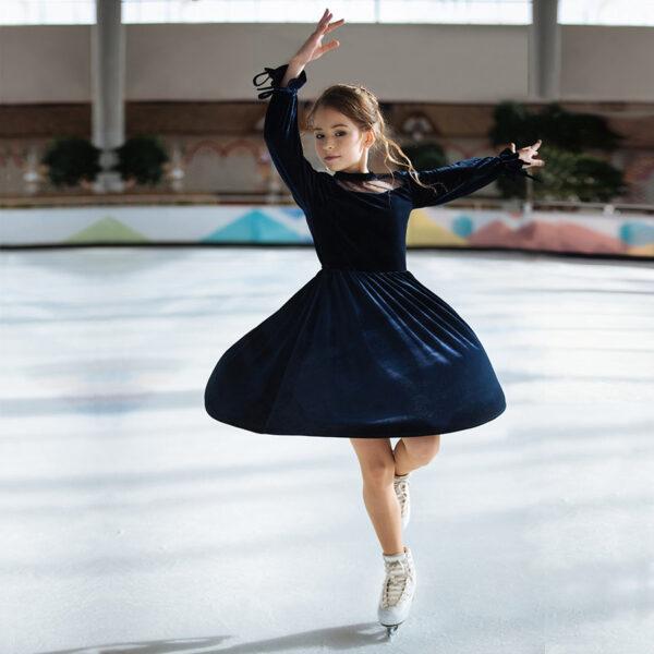 бархатное платье для девочки темно-синее
