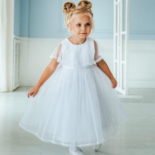 Пышное белое платье для маленькой девочки Эльза