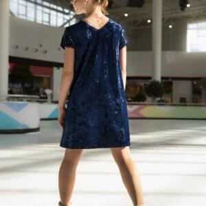бархатное платье для девочки А-силуэта с пайетками синее