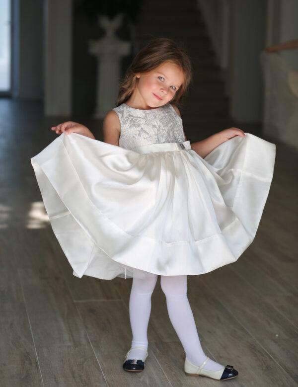 пышное платье для девочки молочный белый Флер