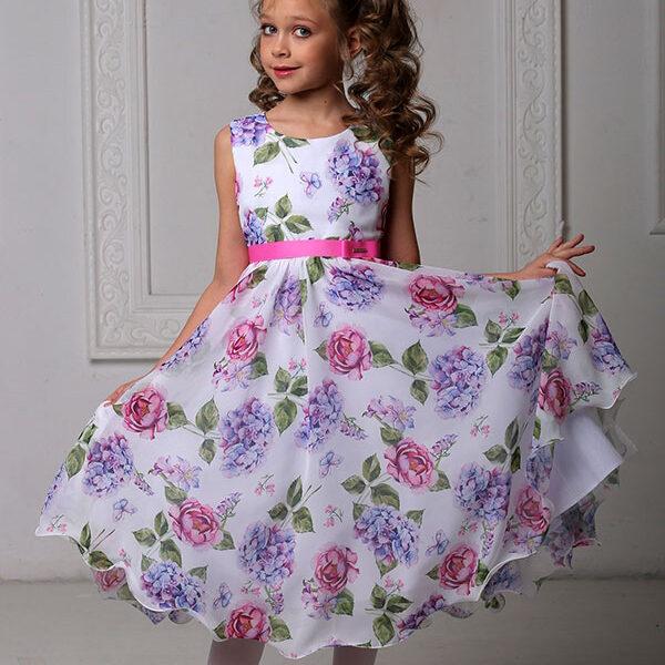 платья для девочек 8 9 10 лет нарядные с цветочным принтом 1463
