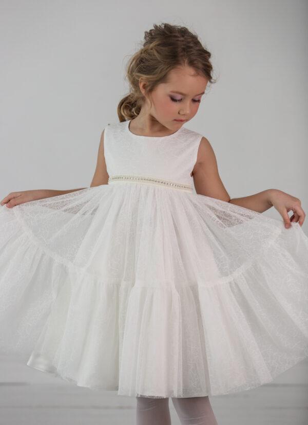 белое воздушное платье для девочки с широкой оборкой 1560 Ангел Бель