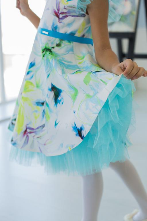 платье для девочки с цветочным принтом Балерина-акварель