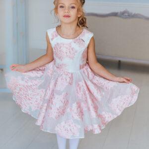 нарядное платье для девочки из розового жаккарда с пышной юбкой Полет