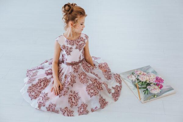 нарядное платье для девочки подростка из жаккарда с пышной юбкой Полет