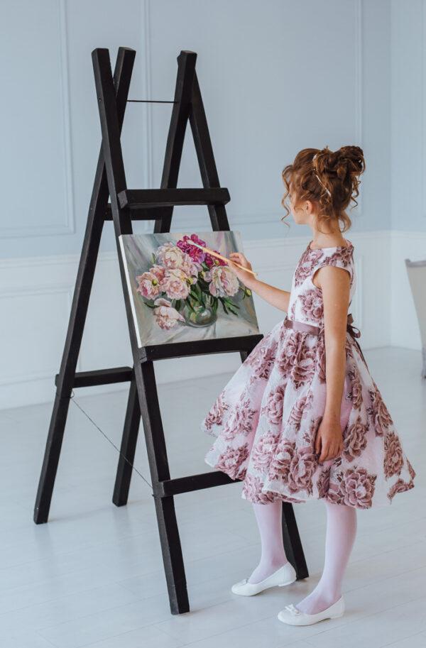 нарядное платье для девочки из жаккарда с пышной юбкой Полет
