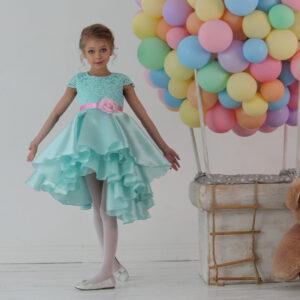 Платье для девочки с кружевным лифом и объемной каскадной юбкой