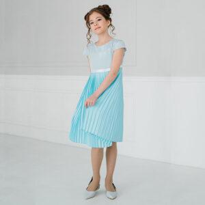 нарядное платье для подростка с плиссированной юбкой и чешуйчатым верхом