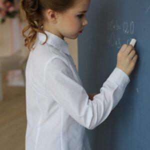 школьная блузка для девочки белая с застрочками и длинным рукавом