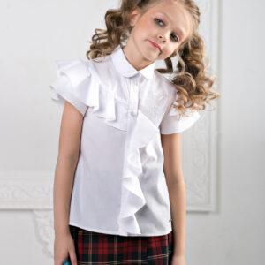 белая блузка для девочки с воланами и вышивкой, асимметрия