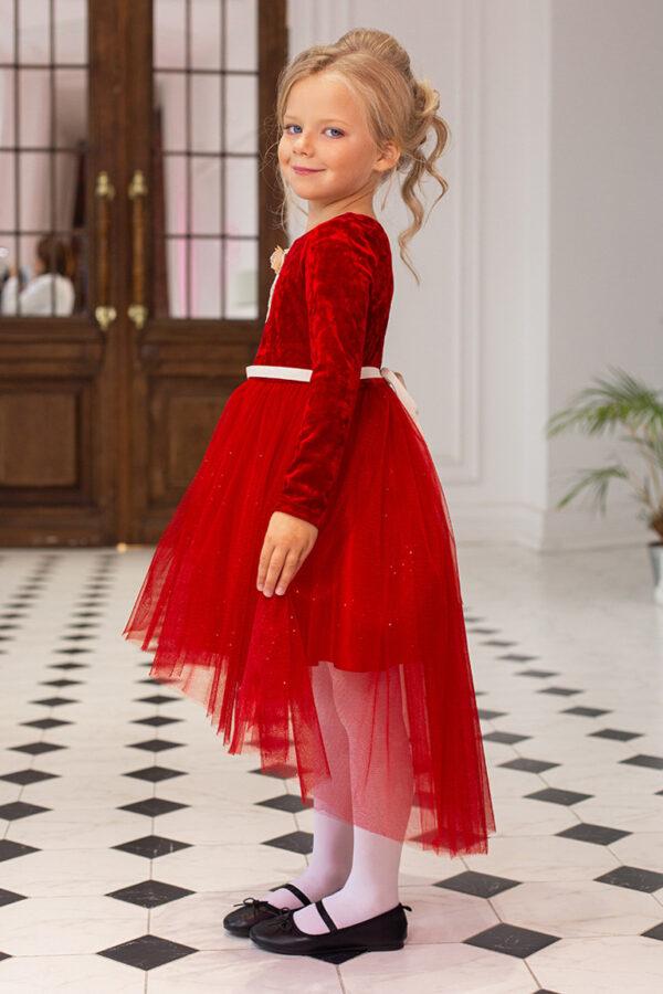бархатное платье для девочки с пышной юбкой красное Жар-птица