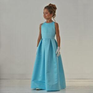 длинное в пол бирюзовое платье +для девочки