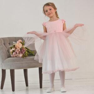 нежное розовое платье из сетки с цветочным декором