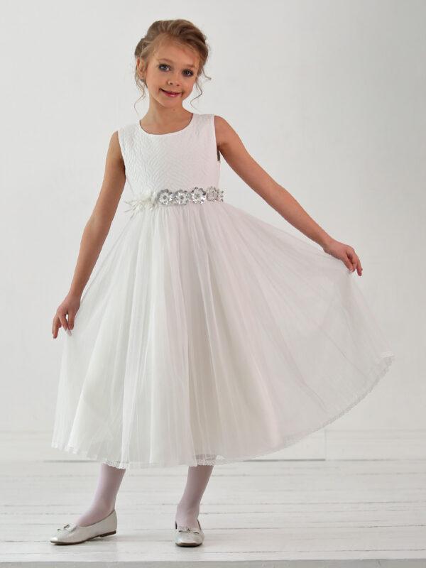 торжественное белое платье для девочки классика