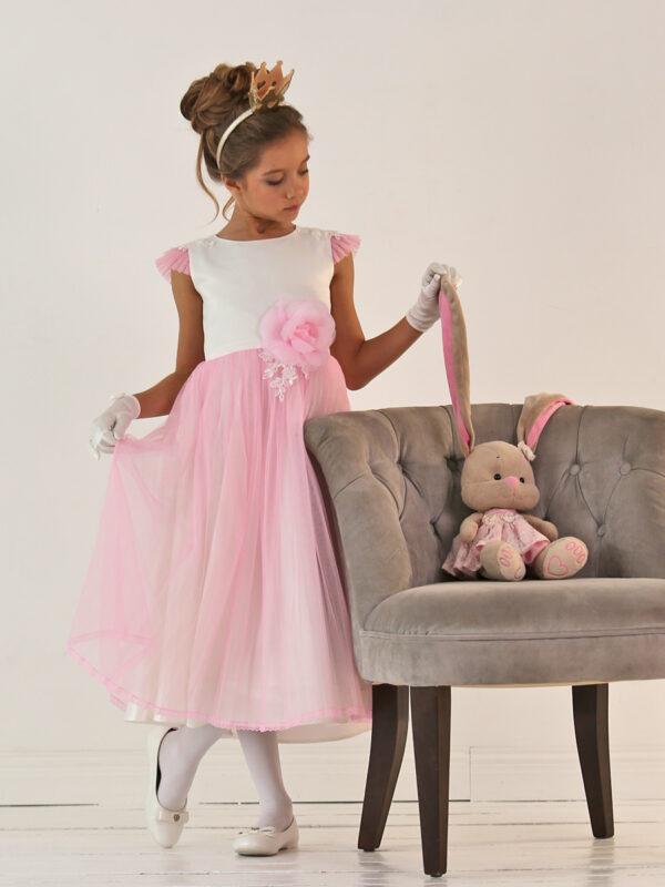 розовое бальное платье для девочки с цветком