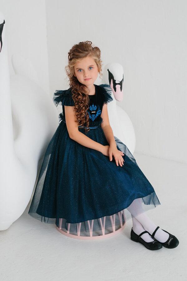 нардное платье для девочки синее бархат сетка