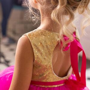 яркое золотое розовое бальное платье для девочки