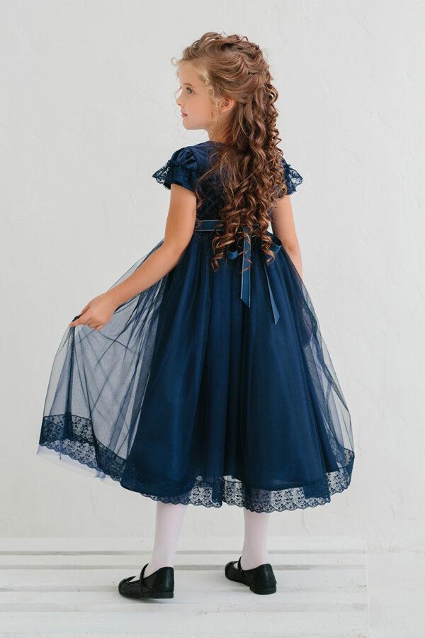 синее бальное платье для девочки бархат атлас кружево