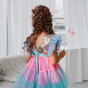 радужное бальное платье для девочки из сетки с пайетками
