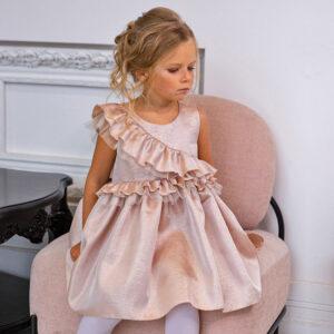 блестящее платье для девочки с воланами