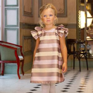 бежевое платье для девочки с принтом полоска
