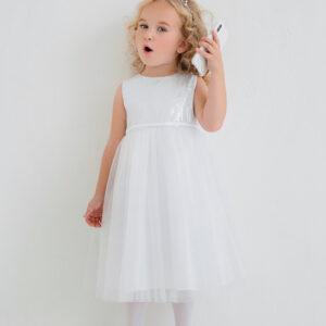 белое платье для малышки пышное с пайетками