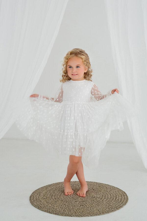 белое платье для малышки из сетки с длинным рукавом