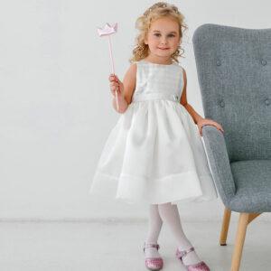 белое платье для малышки с пышной юбкой
