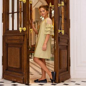 платье с люрексом рукав 3/4 для девочки подростка золотое с воланами