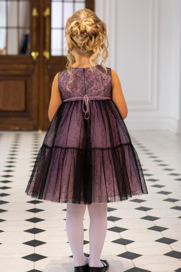 воздушное платье для девочки с широкой оборкой Черный Ангел Бель