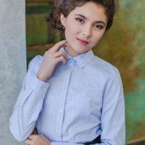 школьная блузка для девочек с длинным рукавом строгая классика голубая