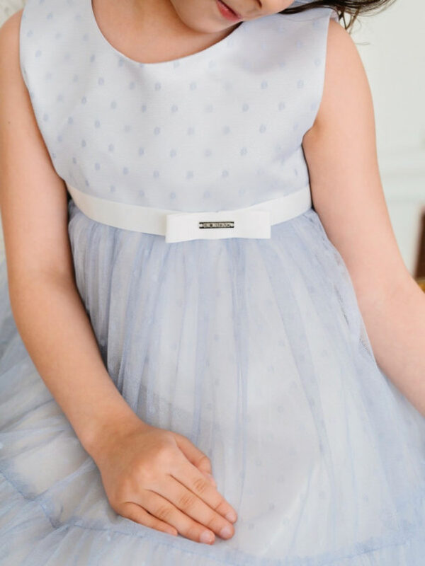 воздушное платье для девочки с широкой оборкой Ангел Бель голубое