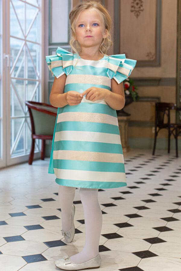 нарядное платье для девочки с пышным рукавом Феерия плиссе 1645 мята