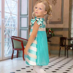 нарядное платье для девочки с плиссировкой и пышным рукавом мята