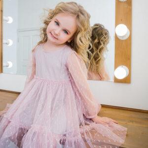 Нарядное платье для малышки из сетки с длинным рукавом
