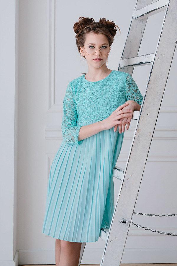 кружевное платье для девочки подростка с длинным рукавом